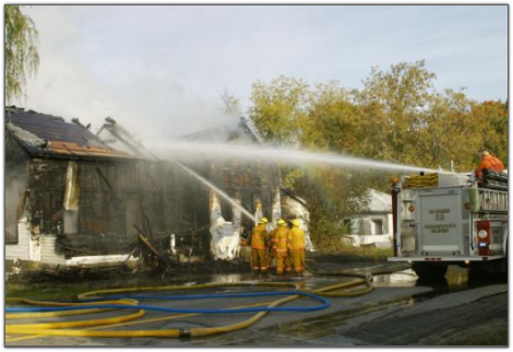 Morristown Fire Fighters battle the flames along with many other area fire departments.